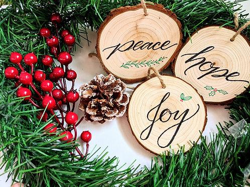 Handmade Wooden Christmas Ornaments - Peace - Joy - Hope - Set of 3