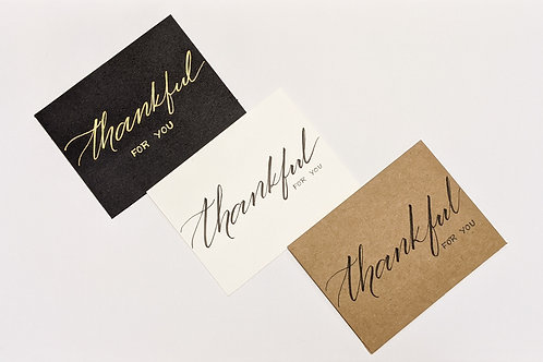 Thankful for you - handmade cards with modern calligraphy - set of 3