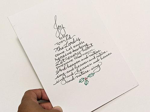 Handmade Christmas Card with Joy to the World Calligraphy