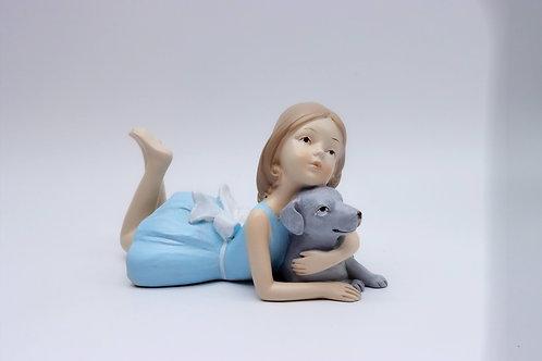 Scultura bimba con cane - LORENZON
