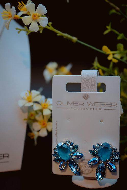 Orecchino Brilliance rodio blue -Swarovski Oliver Weber