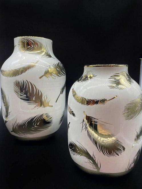 Vaso piccolo-GDECO bianco e oro con piume