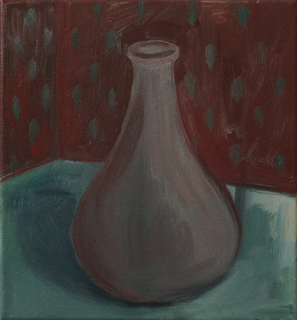 The vase 26 x 24cm, Acrylic on canvas