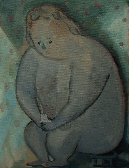 A fat girl in the rose garden 40 x 30cm, Acrylic on canvas