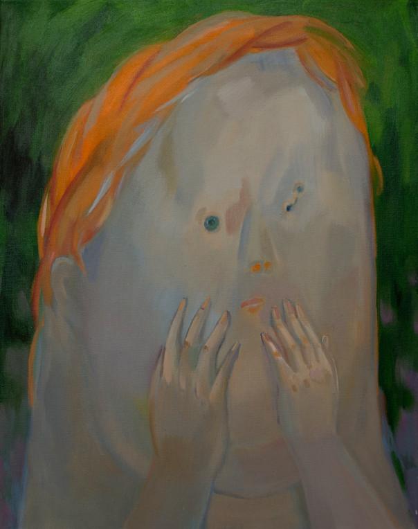 A little shy girl 50 x 40cm, Acrylic on canvas