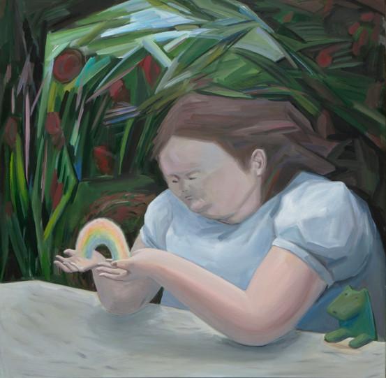 A girl with rainbow 120 x 120cm, Acrylic on canvas