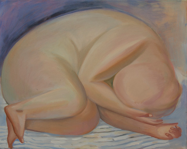 A fat girl without face 40 x 50cm, Acrylic on canvas