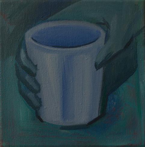 The blue cup 19 x 18cm, Acrylic on canvas