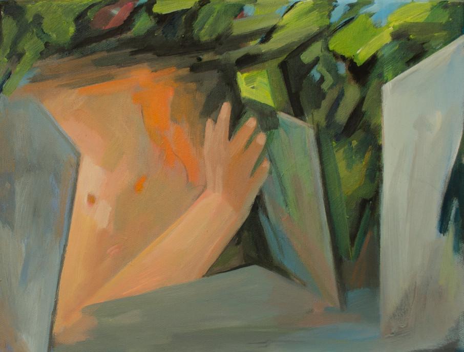 A girl in the ideal garden 24 x 30cm, Acrylic on canvas