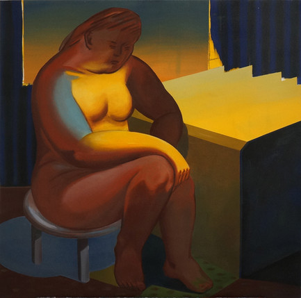 Magic hour in the room l 100 x100cm, Acrylic on canvas