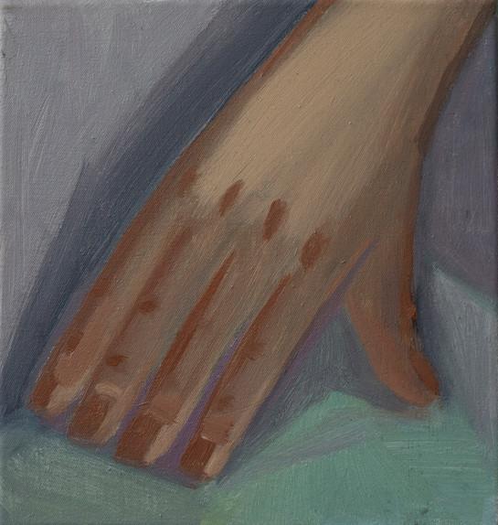 Hand to grasp 26 x 24cm, Acrylic on canvas