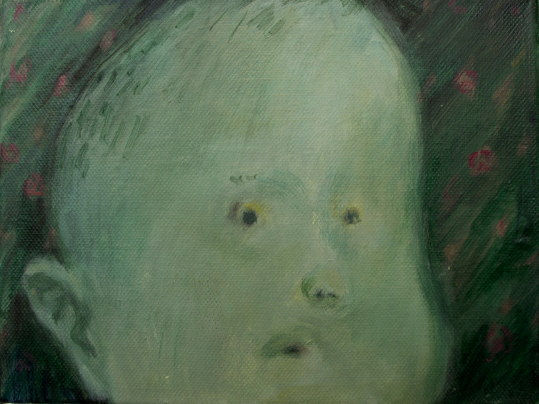 A boy in the garden 18 x 24cm, Acrylic on canvas