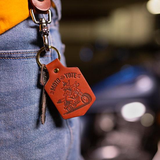 'Moto Yote' Leather Key Fob