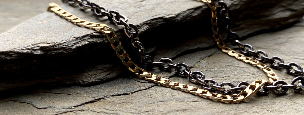 Oxidized sterling silver cable chain bracelet