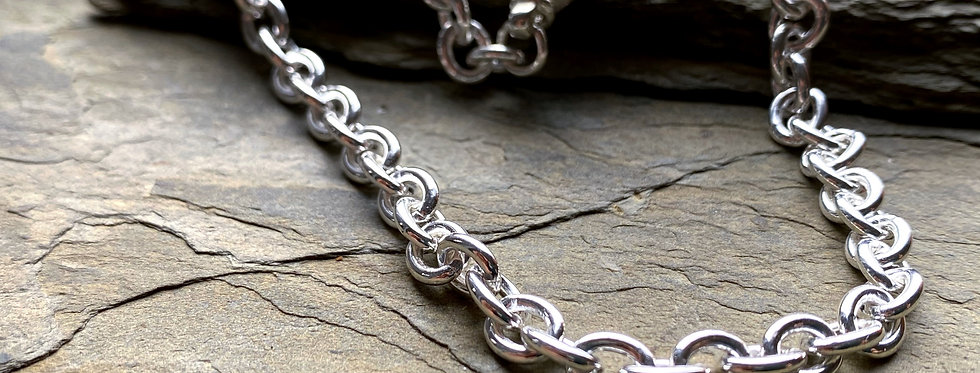 Bold Sterling Silver Cable Chain Choker