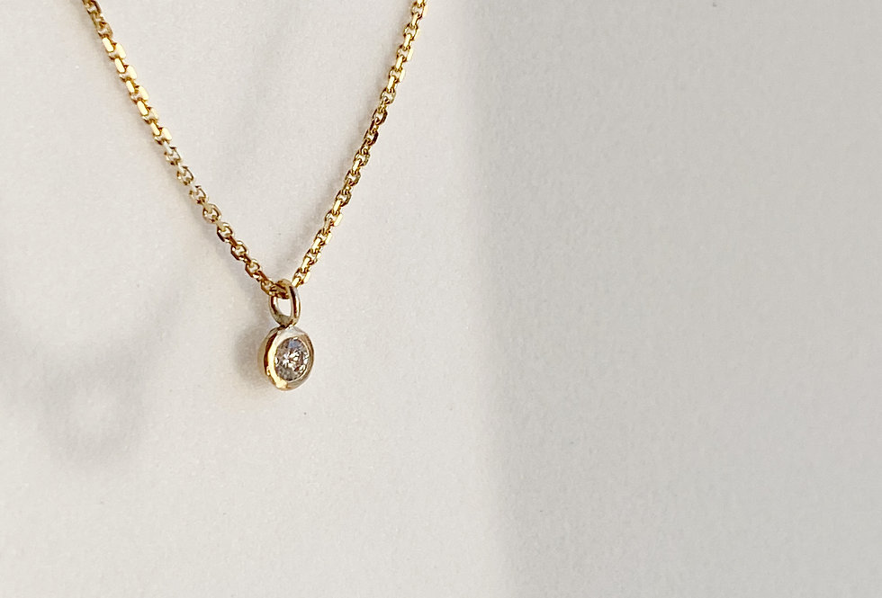 14k Solid Gold Diamond Solitaire Necklace, Diamond Choker