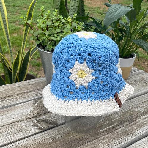 Crochet Bucket Hat - Blue Daisy