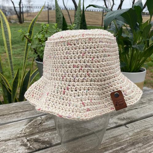 Crochet Bucket Hat -Pink Speckled
