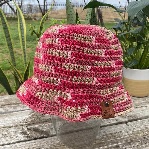 Crochet Bucket Hat -Pink Rush