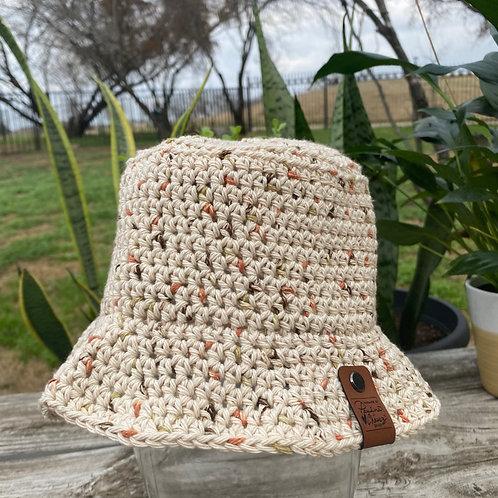 Crochet Bucket Hat -Caramel Speckled