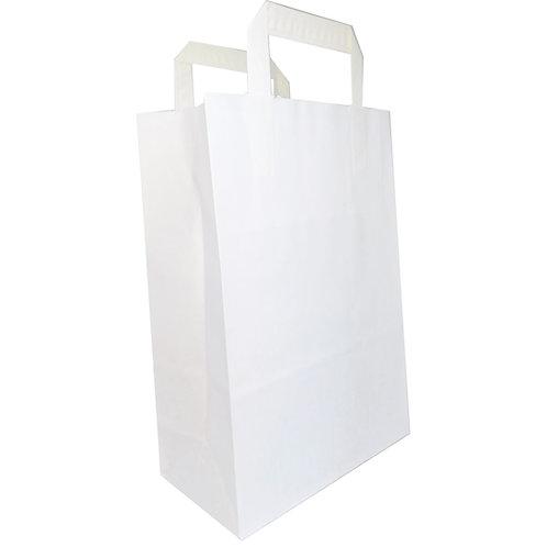 Borsette di carta bianche - Con manico piatto