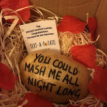 text a potato message in the post mail parcel gift dragons den bbc funny novelty spud potatoe