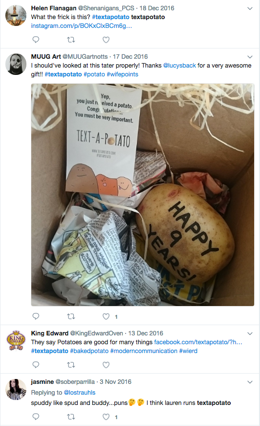 Sending spuds in the mail has set Twitter alight!