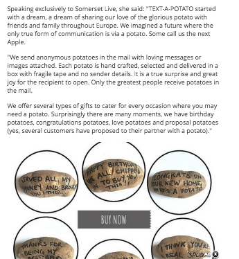 text a potato. Sending anonymous potato message in parcels via the mail