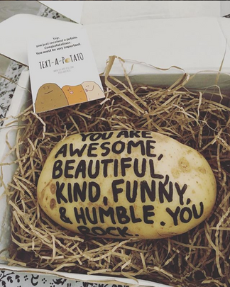 Text A Potato Gift Idea Funny Original Parcel Post Mail Present idea Potatoe send birthday anniversary thankyou fathers day mothers christmas secret santa clothing with your face