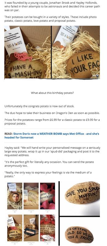 text a potato. Sending potato message in parcels via the post