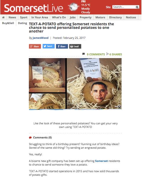 textapotato. Send a potato message in the post!