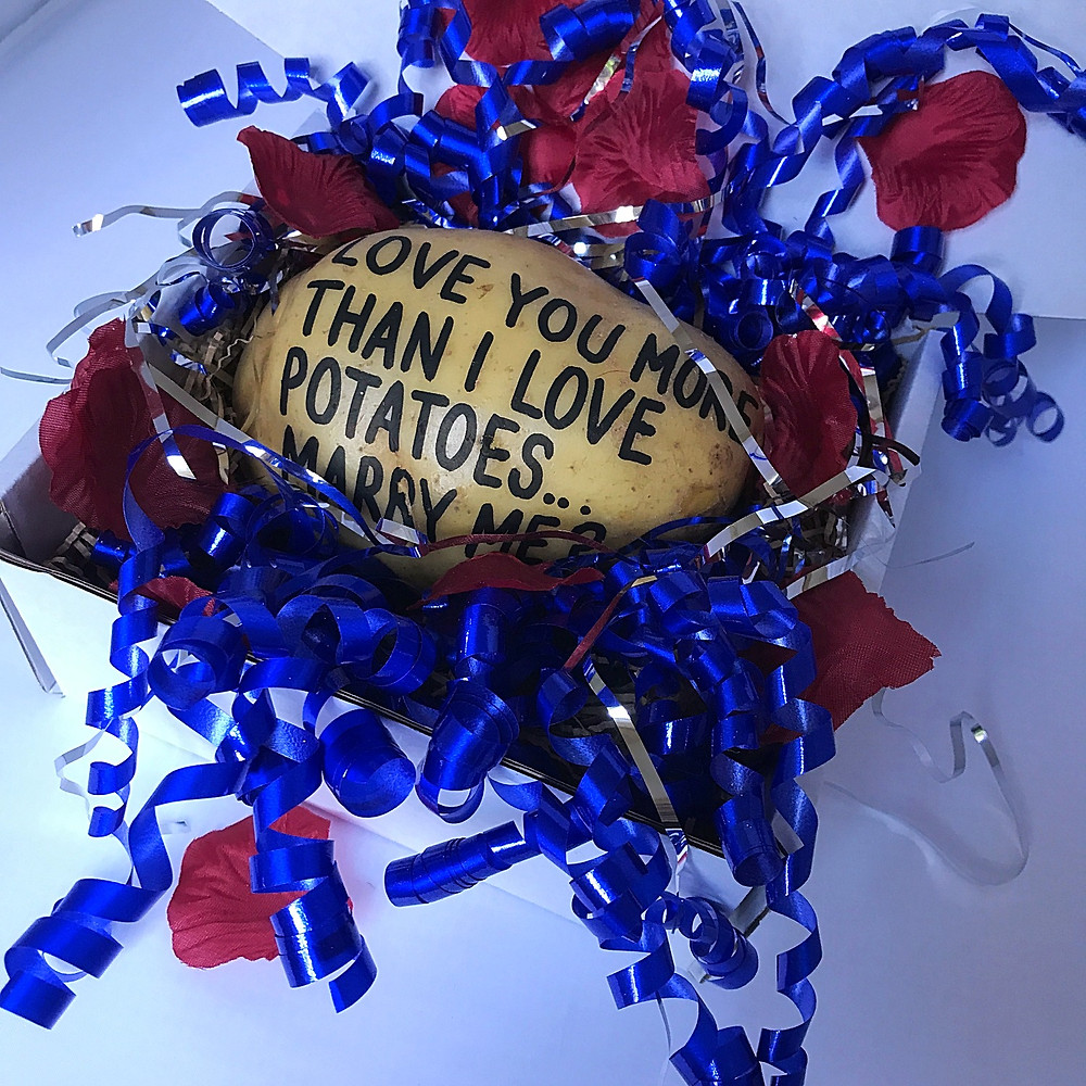 example of a textapotato proposal gift in box in the post