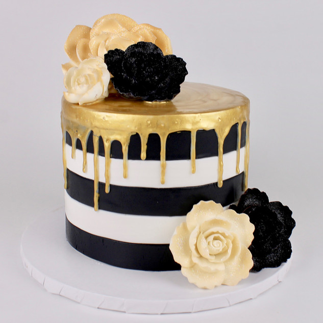 Black & White Cake with Gold Drip