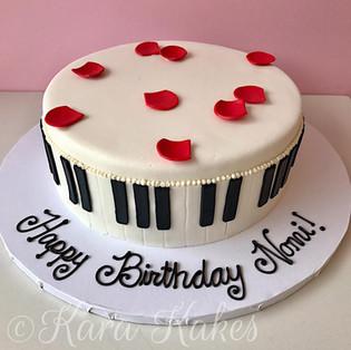 Piano Cake with Rose Petals