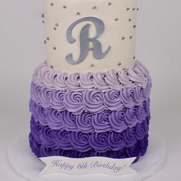 Purple Ombre Rosettes Cake