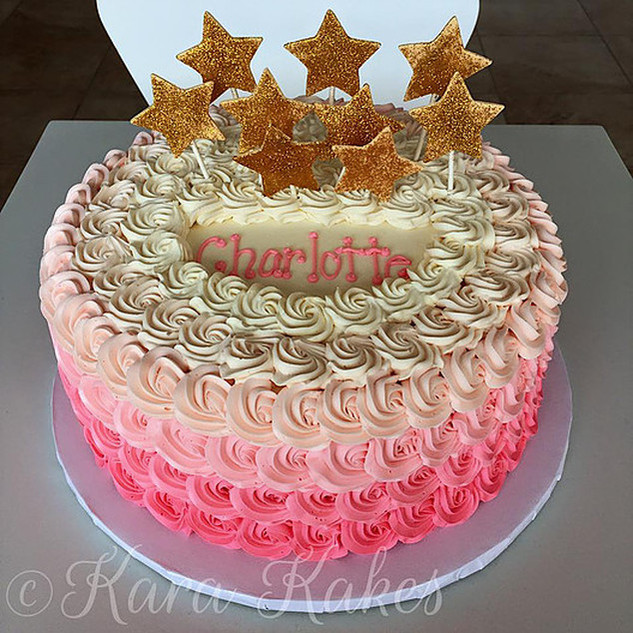 Pink Ombre Rosettes Cake