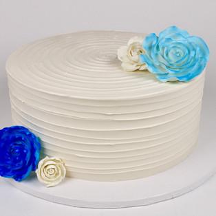 White Cake with Fondant Flowers
