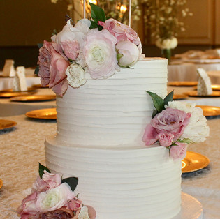 Simple White Tiered Cake with Flowers