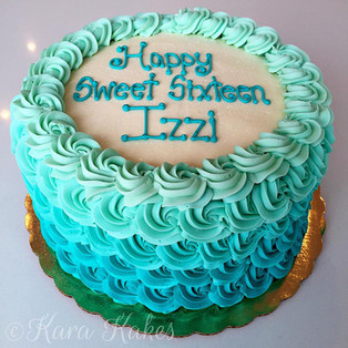 Teal Ombre Rosettes Cake