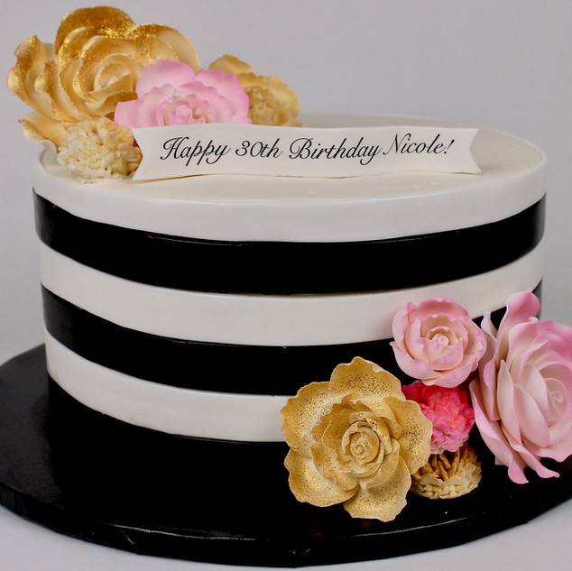 Black & White Stripe Cake
