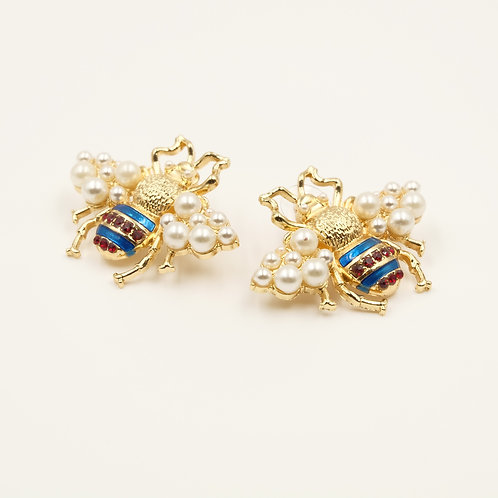 Bumble Bee Pearl Wing Studs