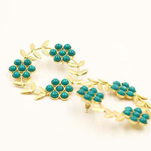 Green Florals Earrings