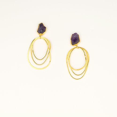 Purple Cirlce Earrings