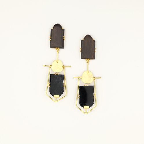 Wood & Onyx Drop Earrings