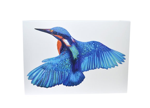 Illustrated greeting card - Kingfisher in Flight