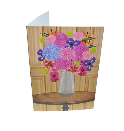 Illustrated greeting card - Flowers in Vase