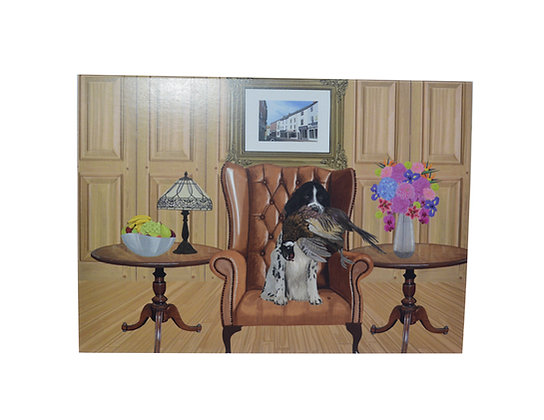 Illustrated greeting card - Spaniel in chair