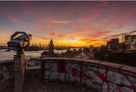 Sonnenuntergang an den Landungsbrück