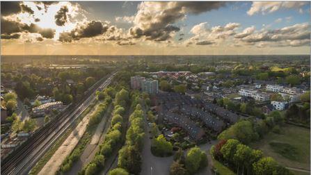 Kleinstadt aus der Luft