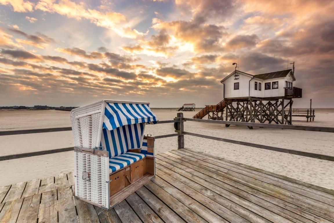 Morgens am Nordsee Strand von Sankt